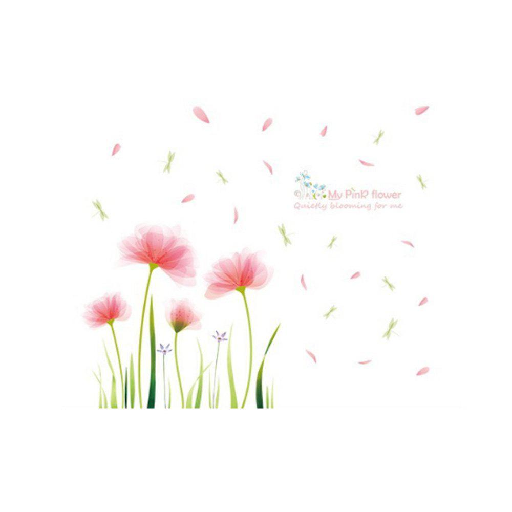 Pink Garden Removable Wall Stickers PVC Transparent Film