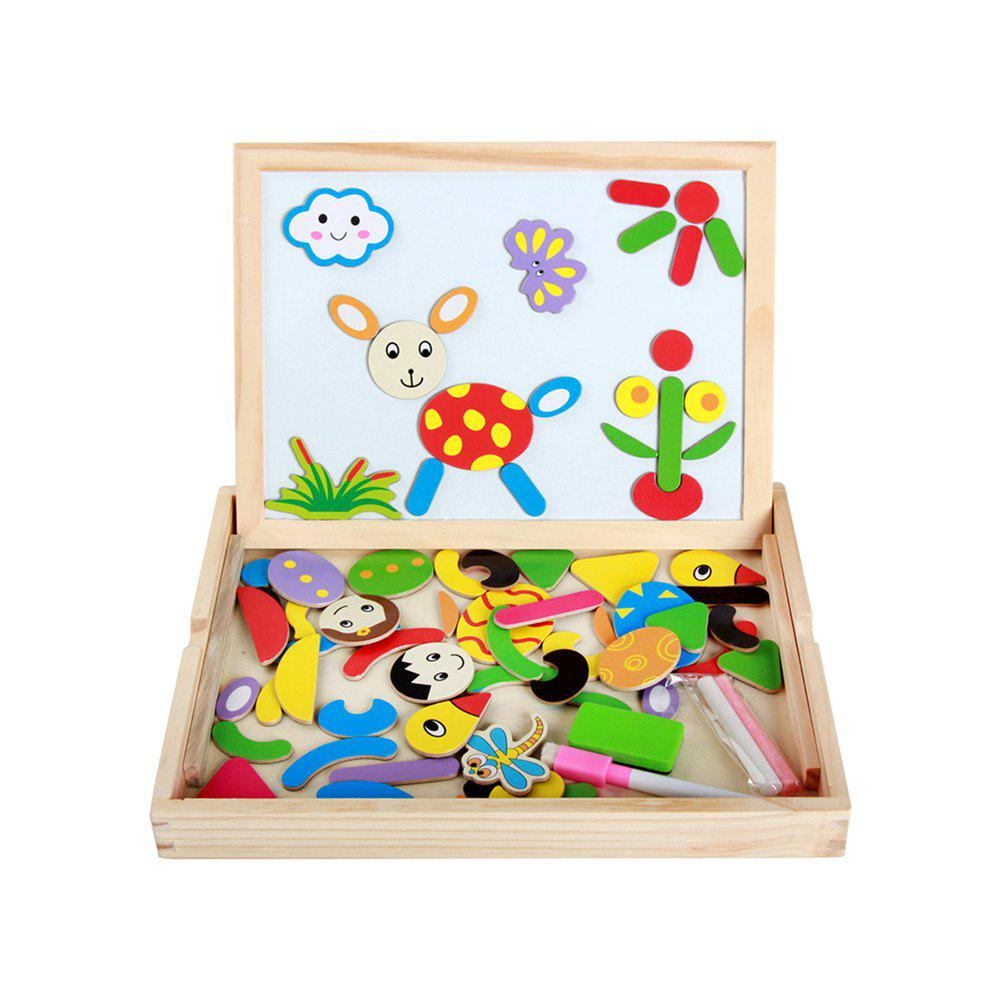 Children Wooden Puzzle Magnetic Two-sided Drawing Board toy fishing rods fish magnetic game board wooden puzzle