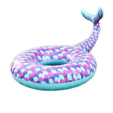 Mermaid Swim Ring Inflatable Water Fish Floating Row - multicolor A