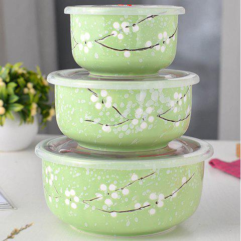 3PCS Insulated Ceramic Lunch Bowls Set - KELLY GREEN 16*16*7.5