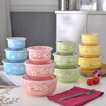 3PCS Insulated Ceramic Lunch Bowls Set - PINK 16.5*16.5*7.5