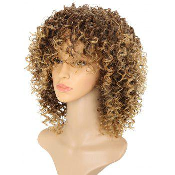Short Afro Curly Synthetic Hair with Bang for Afircan American 4 Colors - LIGHT BROWN 14INCH