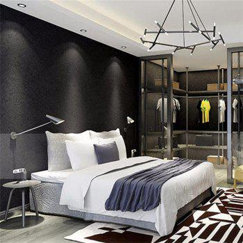 Modern Solid Color Silk Wallcovering  Livingroom Bedroom Decor - BLACK