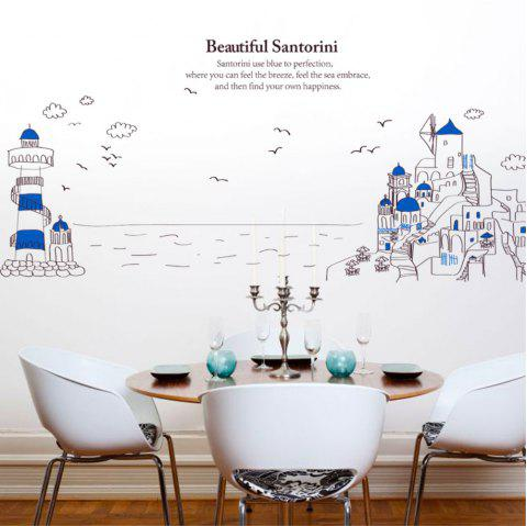 Creative Decorative Cartoon 3D Santorini Lighthouse Wall Stickers - multicolor A