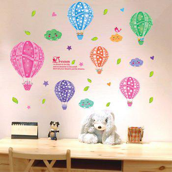 Creative Decorative Color Cartoon 3D Hot-Air Balloon Wall Sticker - multicolor A