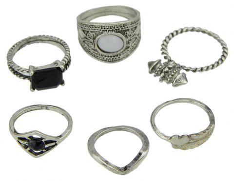 6 Pcs Black Stone Feather Pattern Knuckle Rings - SILVER RING SET