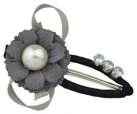 Rhinestone Decoration Flower Bowknot Hairpin - GRAY