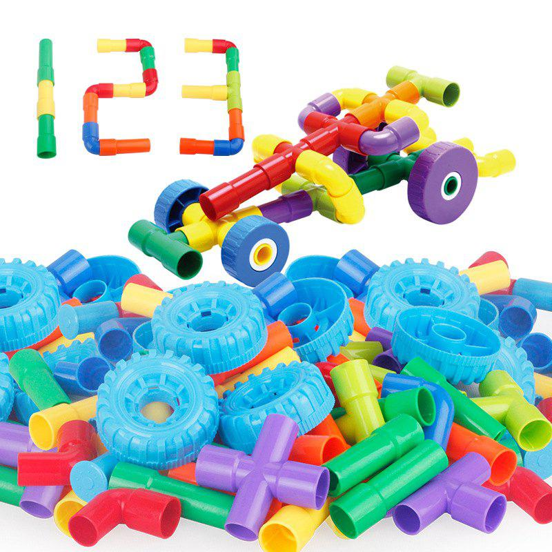 55PCS Assembling Pipe Blocks Assembled DIY Toy - multicolor
