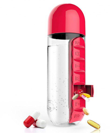 600ml Sport Water Bottle With Built-in Daily 7 Daily Pill Box Vitamin Organizer - RED