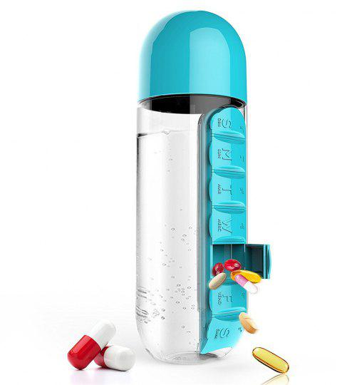 600ml Sport Water Bottle With Built-in Daily 7 Daily Pill Box Vitamin Organizer - BLUE