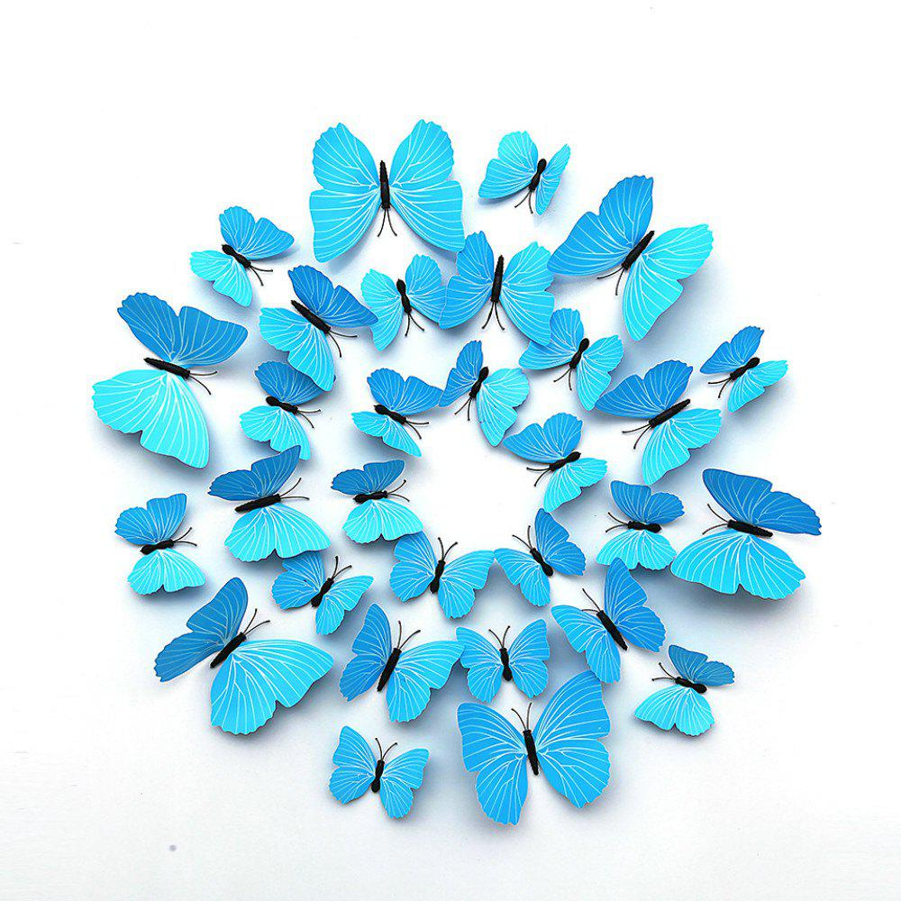 12 PCS 3D DIY Wall Sticker Butterfly Home Decor - LIGHT SKY BLUE