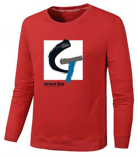 Men's Fashion G Print Sweatershirts - RED M