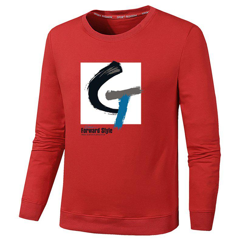 Men's Fashion G Print Sweatershirts - RED XL