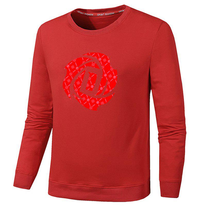 Men's Fashion Floral Print Sweatershirts - RED 3XL