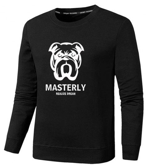 Men's Fashion Dog Print Sweatershirts - BLACK L