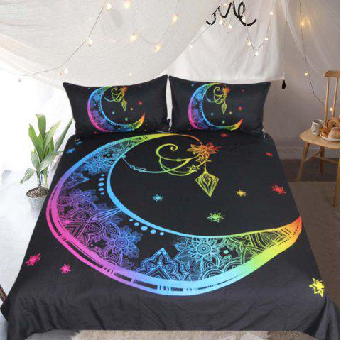 Colorful Bedding Moon Star Duvet Cover Set 3pcs - multicolor TWIN