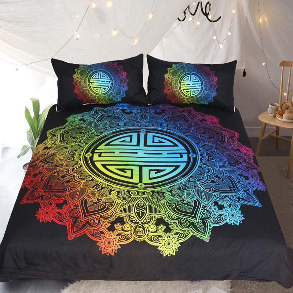 Colorful Bedding Chinese Blessing  Duvet Cover Set 3pcs - multicolor KING