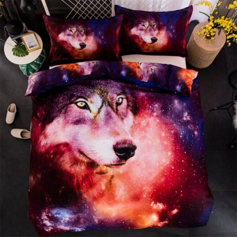 3D Starry Wolf Explosive Three-Piece Bedding set - multicolor B QUEEN