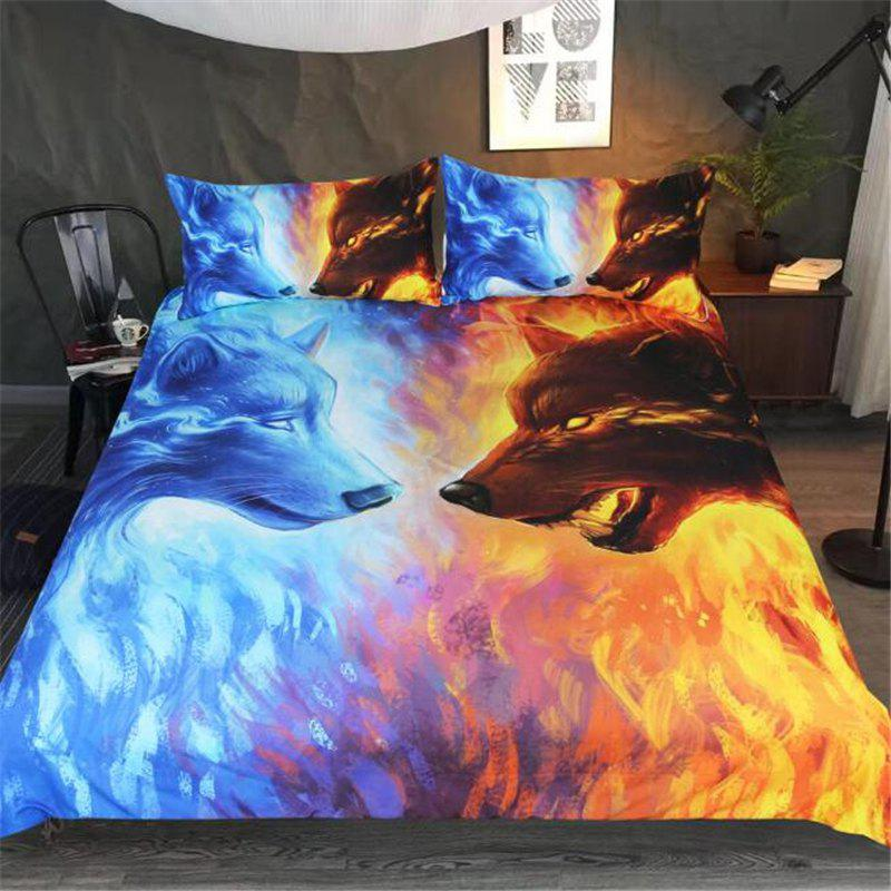 3D Ice Wolf Blue Yellow Bedding Three-Piece Bedding Set - multicolor C KING
