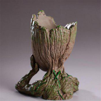 Flowerpot Tree Man Doll PVC Material Pen Holder - WOOD