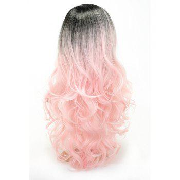 Pink Color Party Wigs Black Roots Long Loose Curly Heat Resistant Synthetic Hair - LIGHT PINK 22INCH