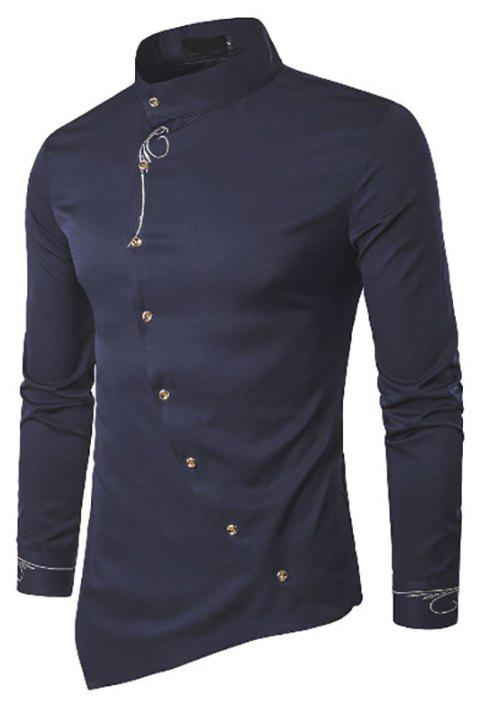 Fashion Men's Personalized Slant Button Irregular Embroidery High-End Shirts - CADETBLUE L