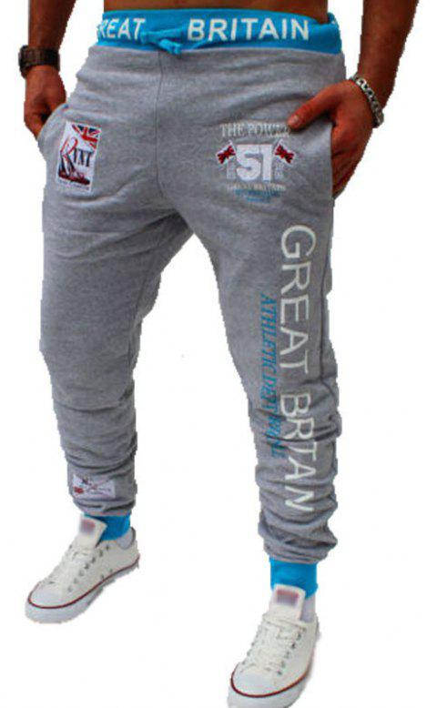 Men's Fashion Digital Printing British Flag Pattern Casual Pants - LIGHT GRAY L
