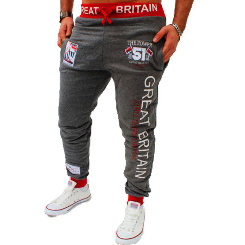 Men's Fashion Digital Printing British Flag Pattern Casual Pants - DARK GRAY 2XL