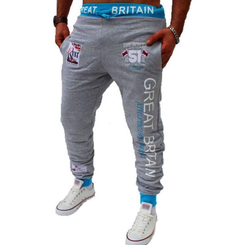 Men's Fashion Digital Printing British Flag Pattern Casual Pants - LIGHT GRAY 2XL