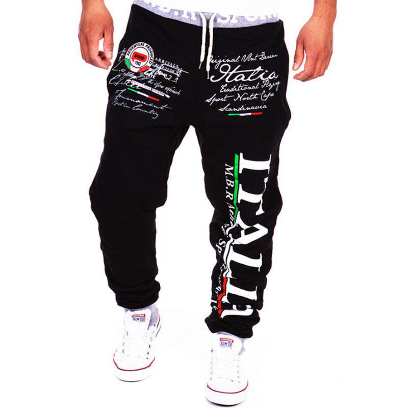 Men's Fashion Lettering Casual Sports Pants - BLACK 2XL
