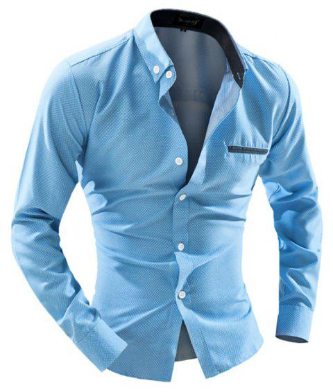 Men's Business Casual Dotted Long Sleeve Casual Shirt - LIGHT BLUE M
