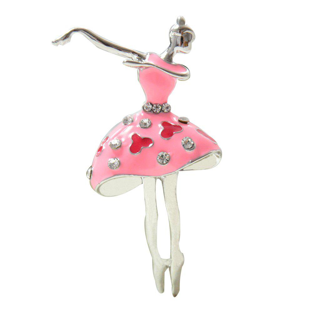 Ballet Dancer Ballerinas Brooches for Women Girls Scarf Coat Pins Hats Corsages - PINK