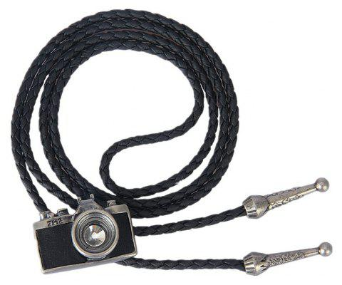 Fashion Accessories with Leather Trim and A Camera Pendant Necklace - SILVER