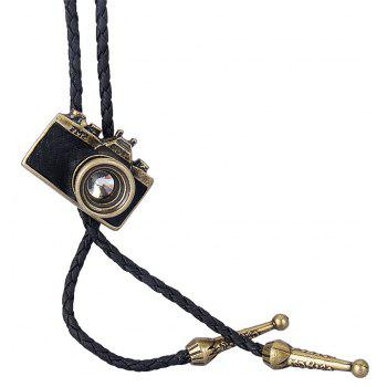 Fashion Accessories with Leather Trim and A Camera Pendant Necklace - GOLD