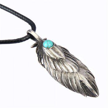 Fashion Accessories Personality Ancient Feather Turquoise Necklace - SILVER