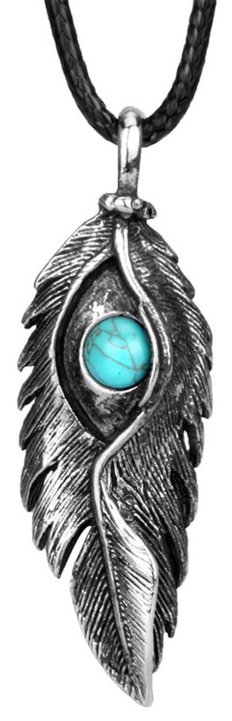 Fashion Accessories Ancient Silver Eagle Eye Feather with Turquoise Necklace - SILVER