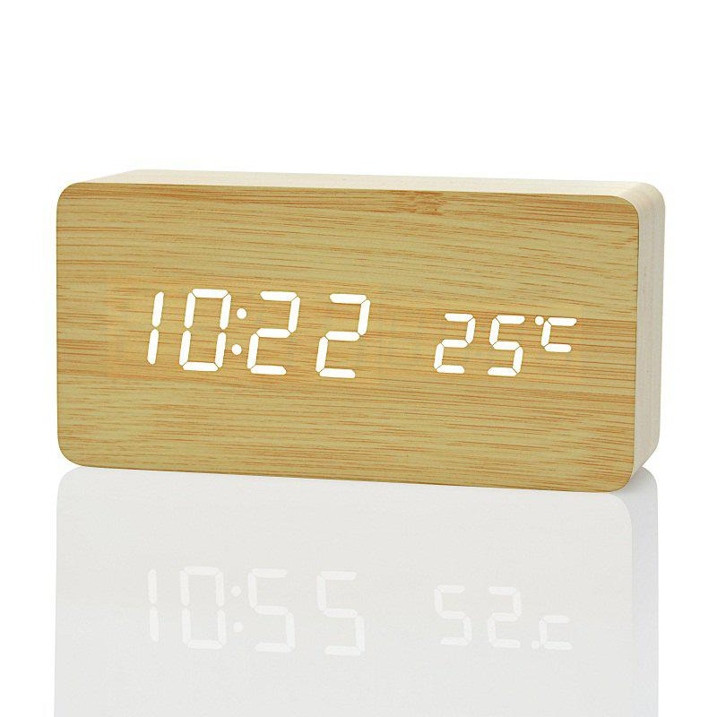 LED Alarm Clock Despertador Temperature Sounds Control - TAN BROWN