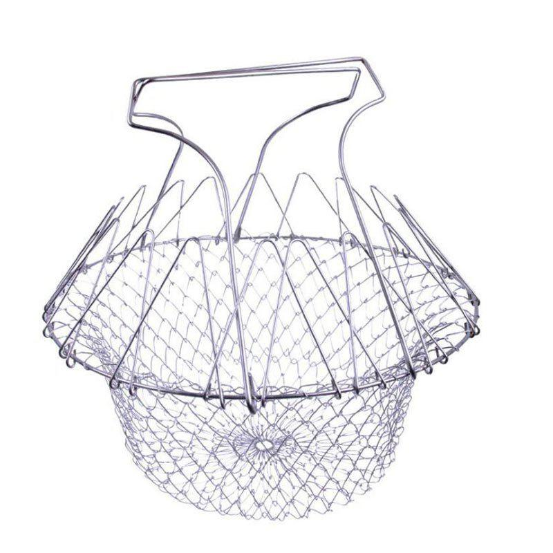Foldable Steam Rinse Strainer Stainless Steel Colander Magic Mesh - SILVER