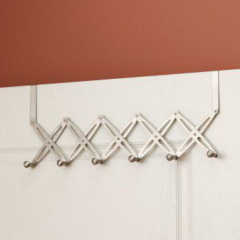 6-Hook Flexible Back Door Hanger Rack Bathroom Kitchen Organizer - SILVER