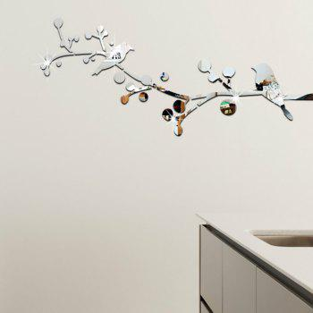 3D Bird  Mirrort Wall Stickers Fashion Design Art Decals - SILVER