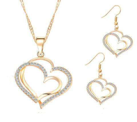 Jewelry Set Double Heart Earring Necklace - GOLD