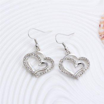 Jewelry Set Double Heart Earring Necklace - SILVER