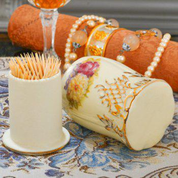 European Luxurious Design Porcelain Lvory Color Toothpick Holder - WARM WHITE