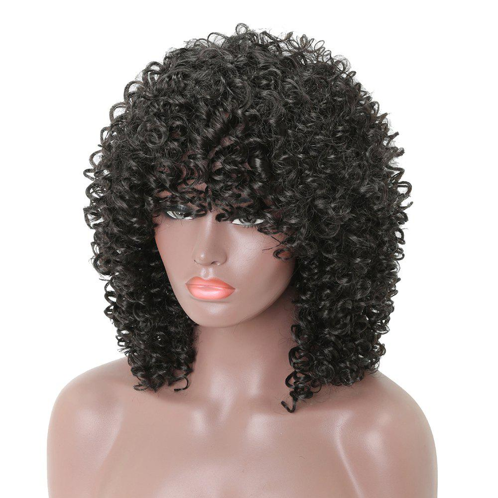 Afro Long Curly Black Fashion Synthetic Heat Resistant Full Wigs with Bang - BLACK 16INCH