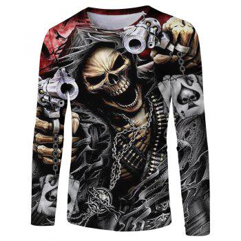 Fashion Spring and Autumn Style Chain Skull 3D Print Men s Long Sleeve T shirt