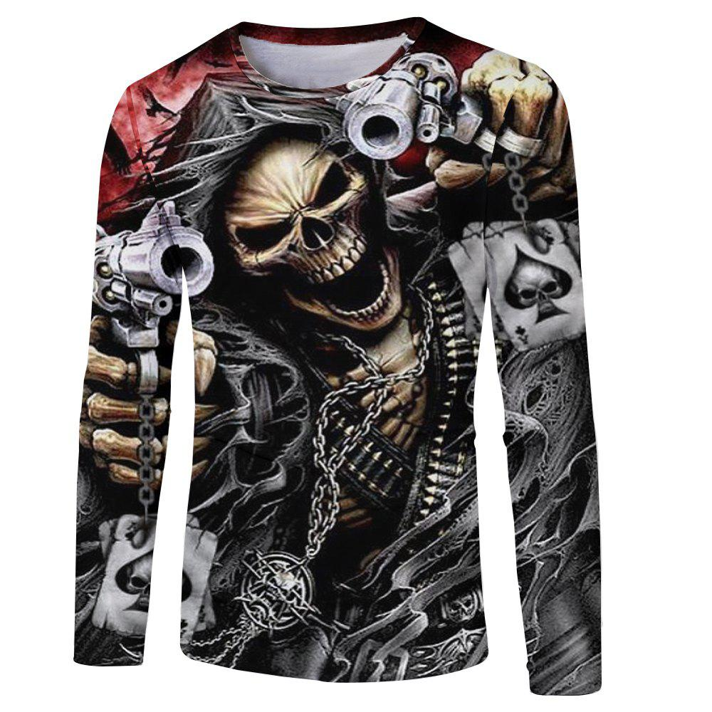 Fashion Spring and Autumn Style Chain Skull 3D Print Men's Long-Sleeve T-shirt new hot sale 2016 korean style boy autumn and spring baby boy short sleeve t shirt children fashion tees t shirt ages