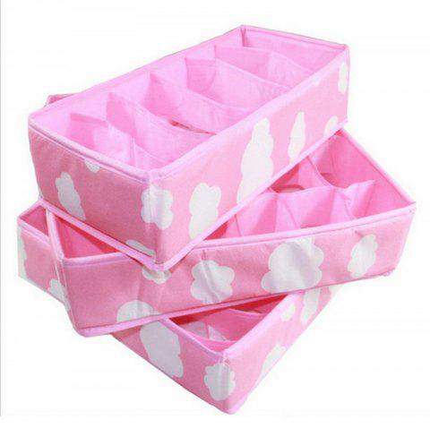 3 In 1 Underwear Storage Box for Ties Socks Shorts Bra  Organizer - BLOSSOM PINK