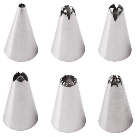 Silicone Icing Piping Cream Pastry Bag with 6pcs Stainless Steel Nozzle Sets - ELECTRIC BLUE