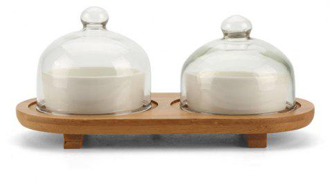 2PC Simple Solid Ceramic Bowl With Wooden Holder - WHITE 21.5*10*10