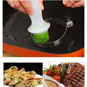 Silicone Brush Glass Bottle Store Oil Dressings for BBQ Cooking Baking - CLOVER GREEN